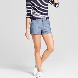 NWOT A New Day Chambray Blue Chino Cotton Shorts
